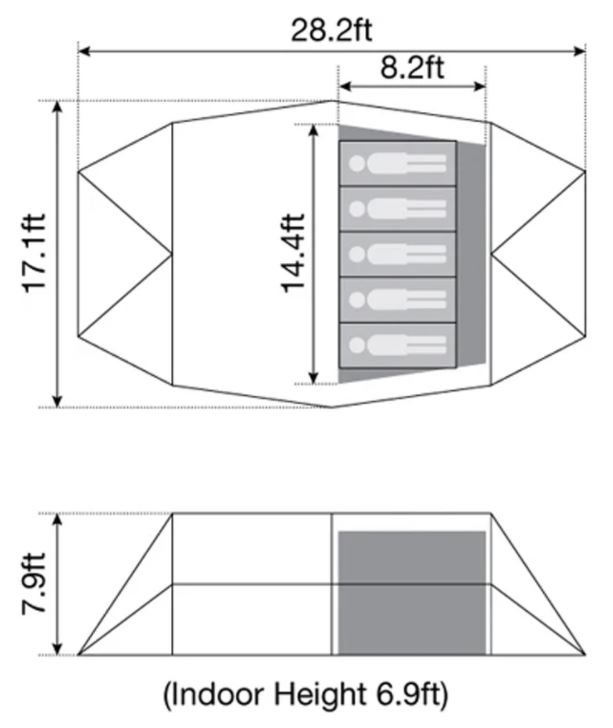 The floor plan and some dimensions.