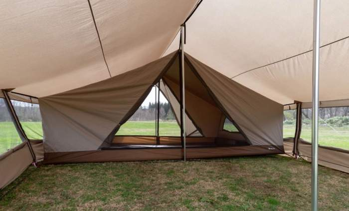 The inner tent as seen from the porch.
